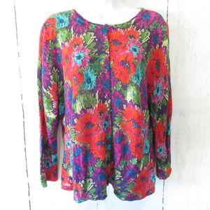 Garnet Hill Cardigan Sweater Floral Merino Wool